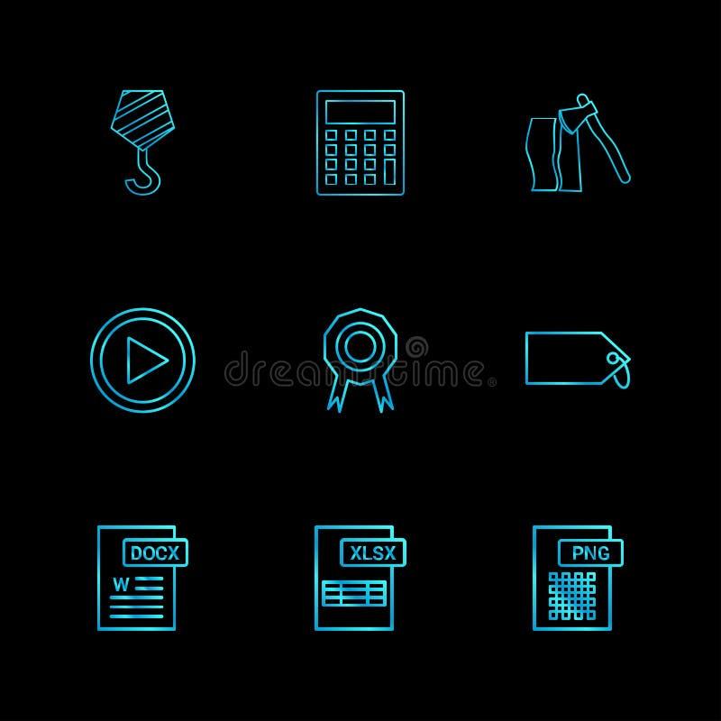 Γάντζος γερανών, υπολογιστής, τσεκούρι, βίντεο, μετάλλιο, διακριτικό, ετικέττα, PN απεικόνιση αποθεμάτων