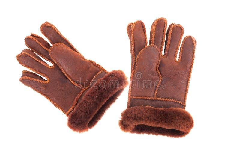 Γάντια δέρματος με μια άσπρη ανασκόπηση στοκ φωτογραφία με δικαίωμα ελεύθερης χρήσης