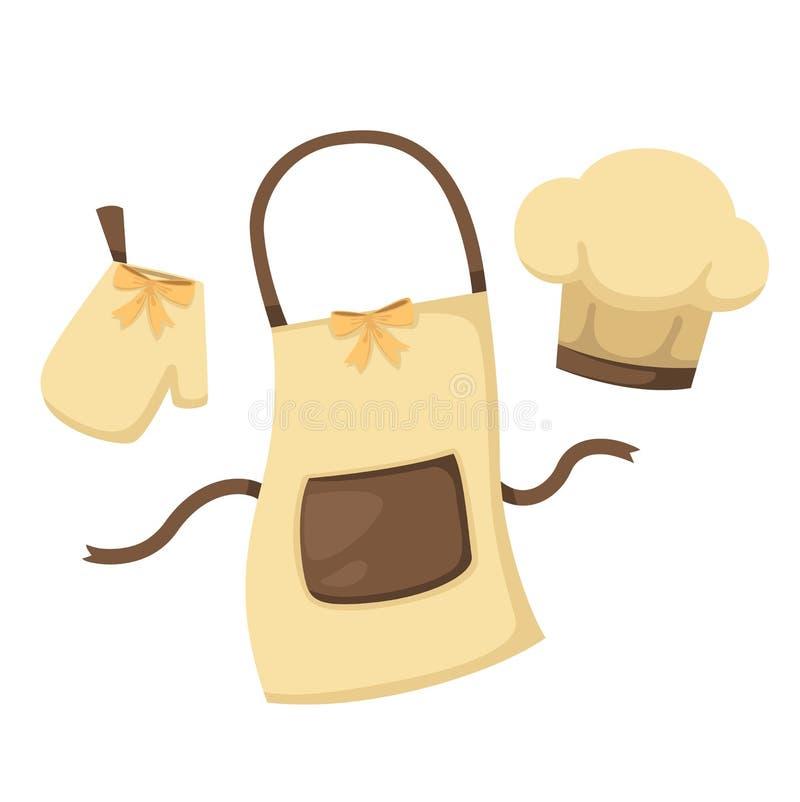 Γάντι κουζινών και ποδιά και καπέλο αρχιμαγείρων στο άσπρο διάνυσμα υποβάθρου ελεύθερη απεικόνιση δικαιώματος