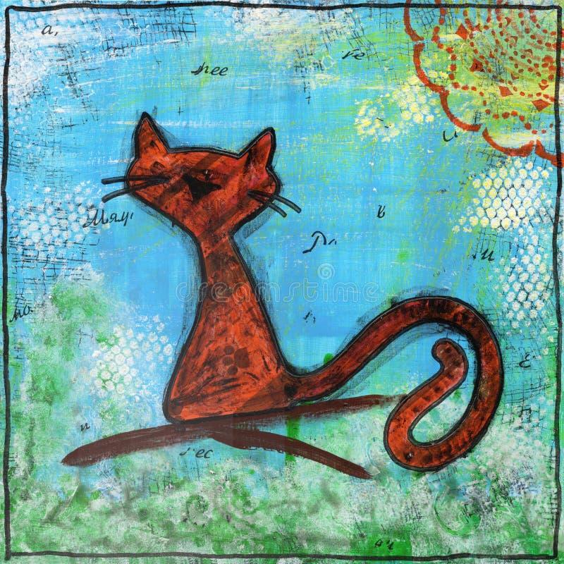 Γάτα άνοιξη Ζωγραφική στο ύφος των μικτών μέσων διανυσματική απεικόνιση