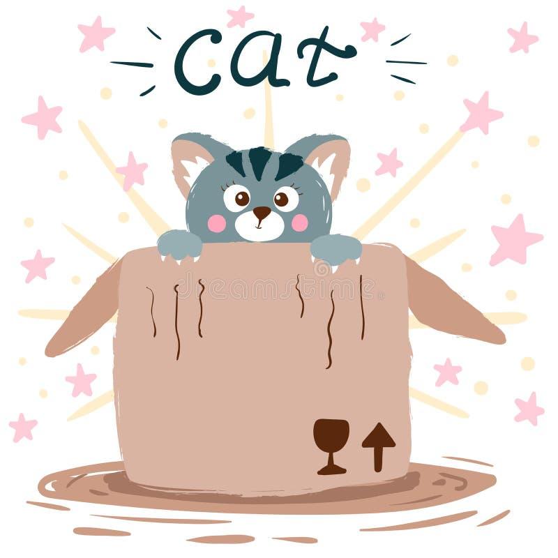 Γάτα και κιβώτιο χαριτωμένη απεικόνιση Ιδέα για την μπλούζα τυπωμένων υλών ελεύθερη απεικόνιση δικαιώματος