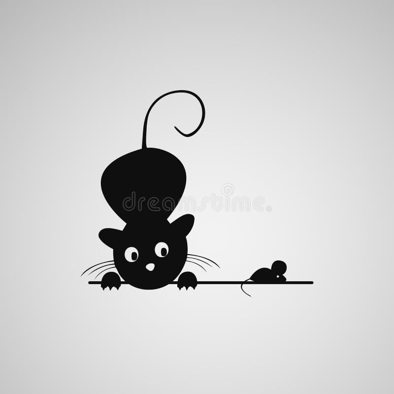 Γάτα και ποντίκι ελεύθερη απεικόνιση δικαιώματος