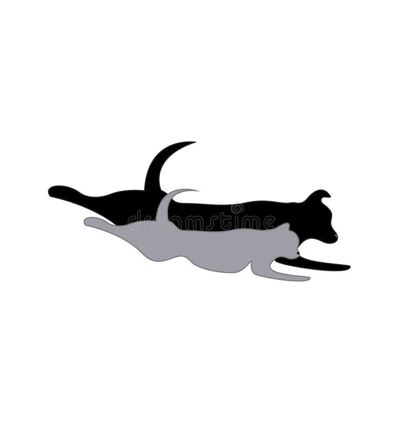 Γάτα και σκυλί που τρέχουν, διάνυσμα εικονιδίων σκιαγραφιών κατοικίδιων ζώων απεικόνιση αποθεμάτων