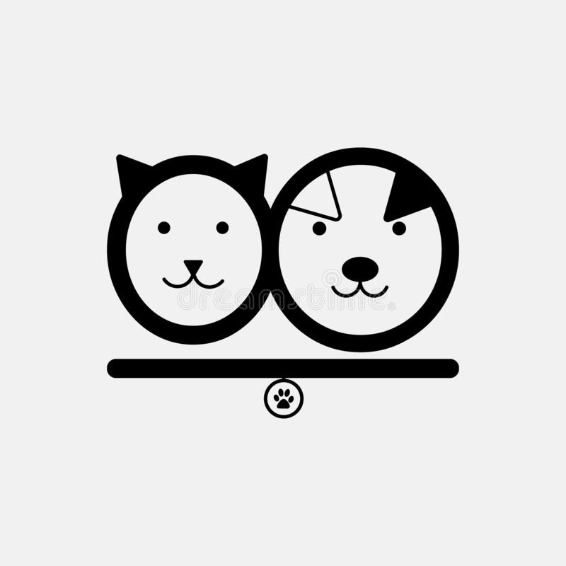 Γάτα και σκυλί Πρότυπο λογότυπων καταστημάτων της Pet στο διάνυσμα Ζωικό έμβλημα καταφυγίων, στοιχεία σχεδίου ετικετών για το κατ ελεύθερη απεικόνιση δικαιώματος