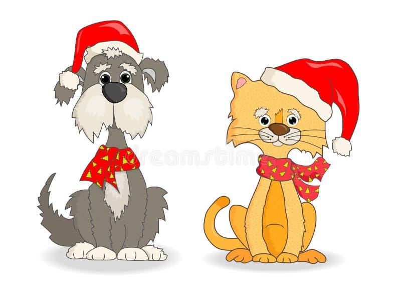 Γάτα και σκυλί με το διάνυσμα καπέλων Χριστουγέννων απεικόνιση αποθεμάτων