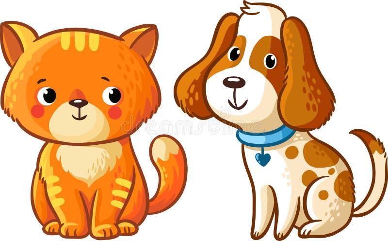 Γάτα και σκυλί ελεύθερη απεικόνιση δικαιώματος
