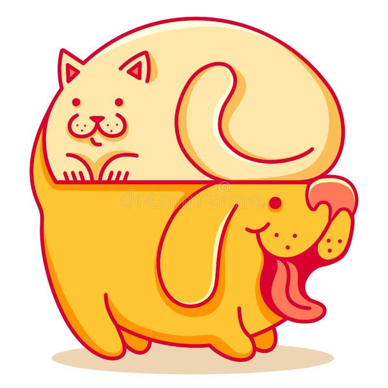 Γάτα και σκυλί διανυσματική απεικόνιση