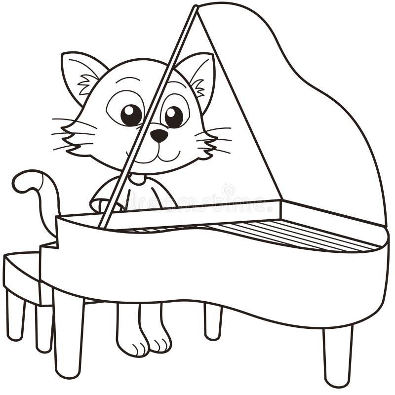Γάτα κινούμενων σχεδίων που παίζει ένα πιάνο διανυσματική απεικόνιση