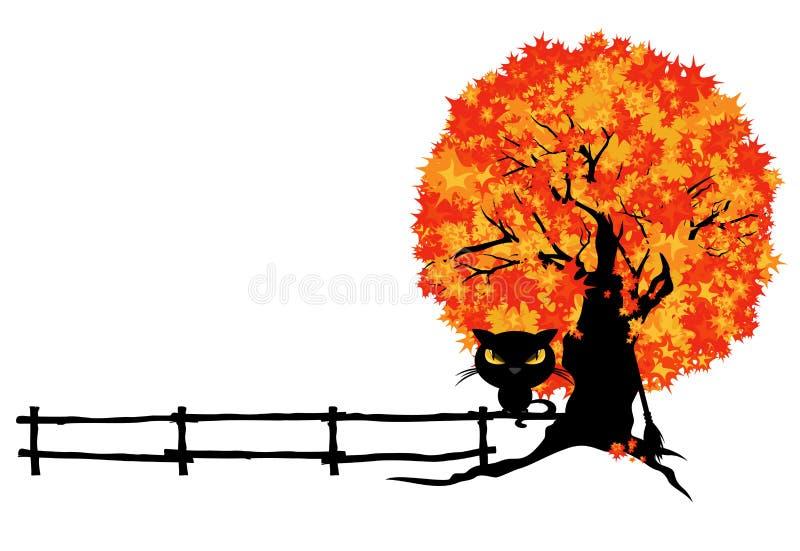 Γάτα μαγισσών αποκριών, φράκτης και διανυσματικό σχέδιο συνόρων δέντρων διανυσματική απεικόνιση