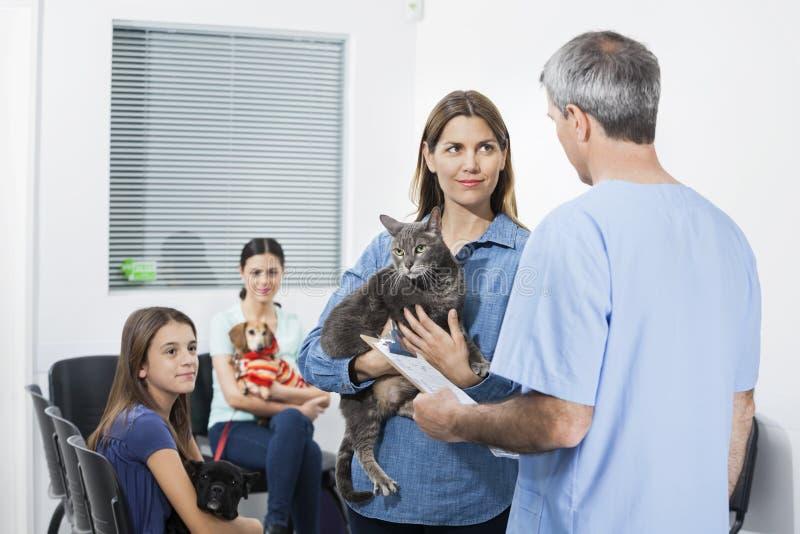 Γάτα μεταφοράς γυναικών εξετάζοντας τη νοσοκόμα στην κλινική στοκ φωτογραφίες