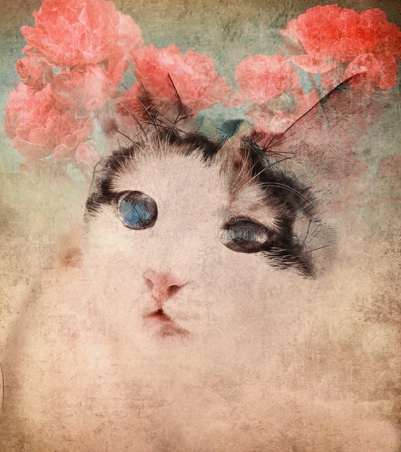 Γάτα με τα λουλούδια πέρα από το υπόβαθρο grunge στοκ εικόνα με δικαίωμα ελεύθερης χρήσης