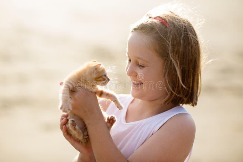 Γάτα μωρών εκμετάλλευσης μικρών κοριτσιών Παιδιά και κατοικίδια ζώα στοκ εικόνες
