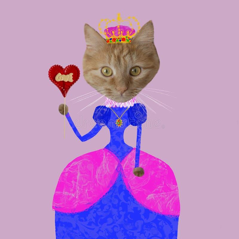 Γάτα πιπεροριζών στο χρωματισμένες φόρεμα και την κορώνα στοκ εικόνες