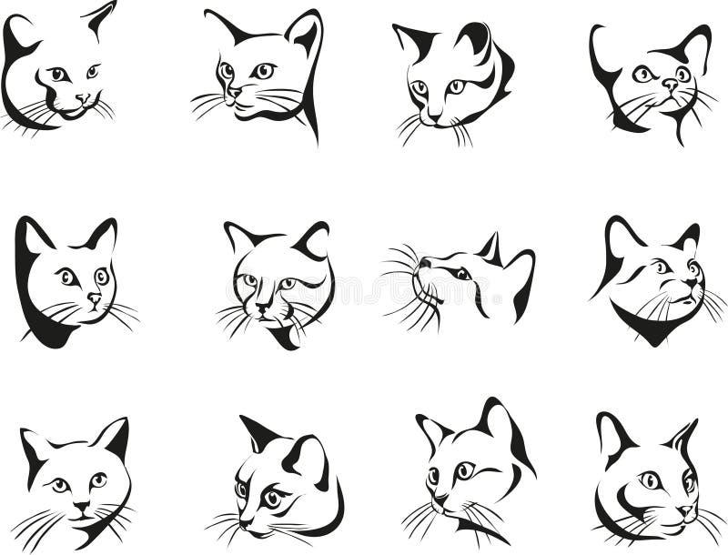 Γάτα, πορτρέτο, γραφική εικόνα, μαύρη στοκ εικόνες