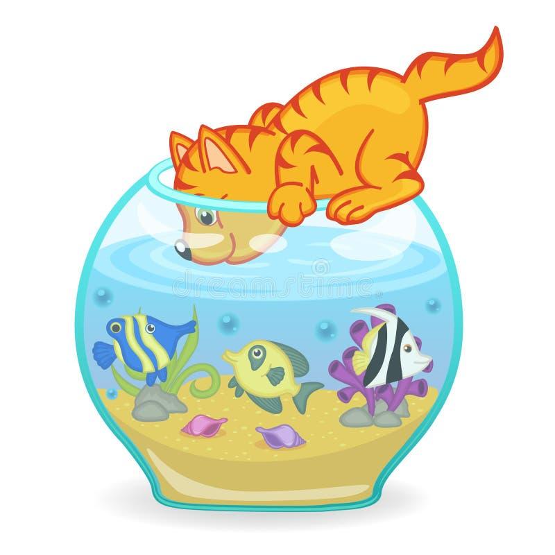 Γάτα που εξετάζει το ενυδρείο με τα ψάρια διανυσματική απεικόνιση