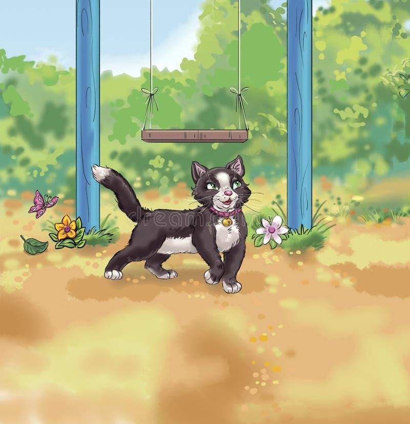 Γάτα που περπατά στην πίσω αυλή απεικόνιση αποθεμάτων