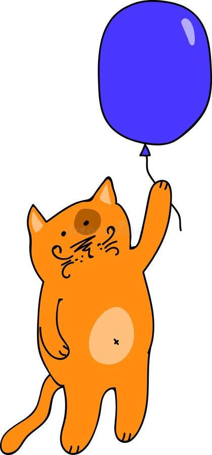 Γάτα που πετά σε ένα μπαλόνι ελεύθερη απεικόνιση δικαιώματος