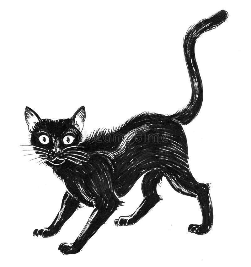 γάτα που φοβάται μαύρη διανυσματική απεικόνιση