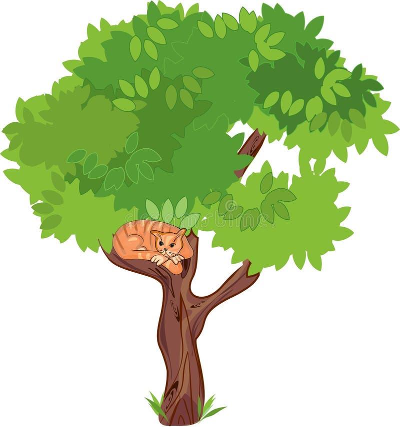 Γάτα σε ένα δέντρο ελεύθερη απεικόνιση δικαιώματος
