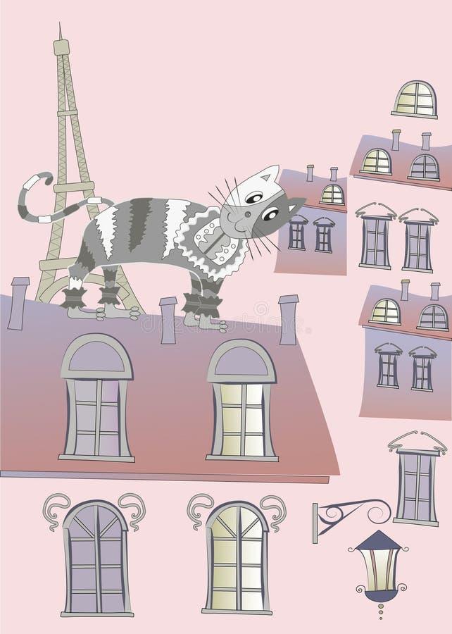 Γάτα σε μια στέγη του Παρισιού ελεύθερη απεικόνιση δικαιώματος