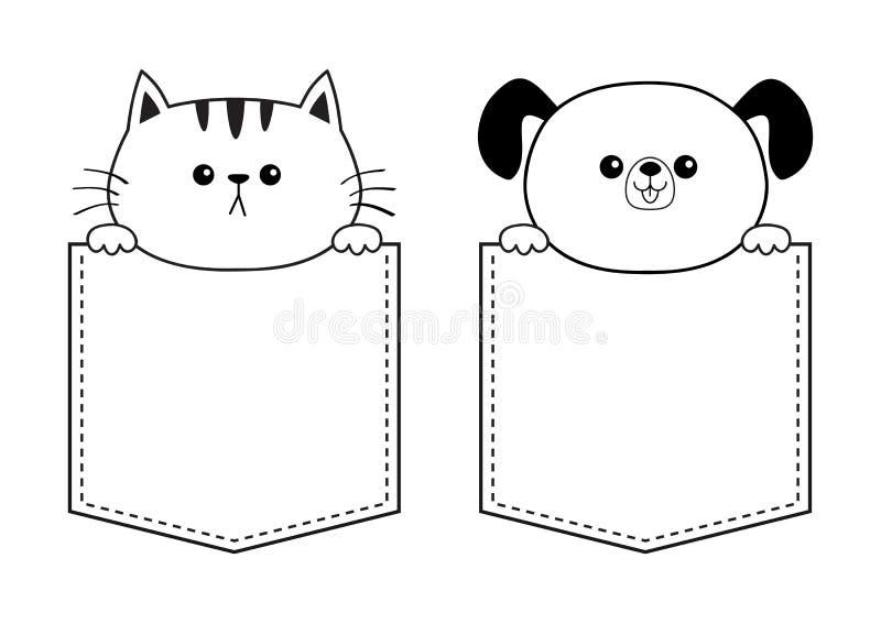 Γάτα σκυλιών στα χέρια εκμετάλλευσης τσεπών Γραμμικό σκίτσο περιγράμματος Doodle κινούμενα σχέδια ζώων χαρι&t Χαρακτήρας γατακιών ελεύθερη απεικόνιση δικαιώματος