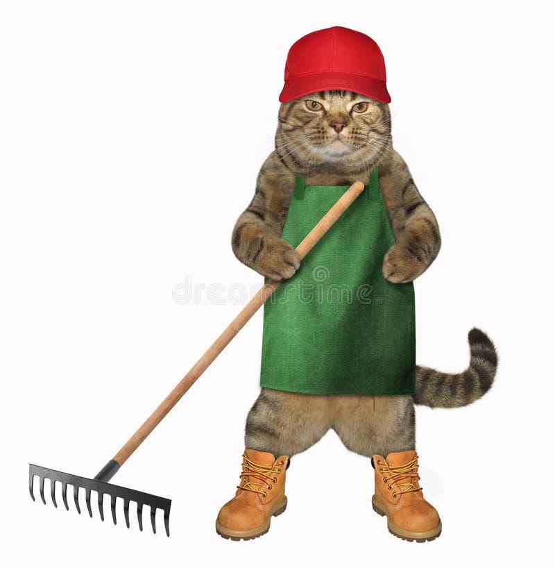 Γάτα στην ποδιά με την τσουγκράνα κήπων διανυσματική απεικόνιση