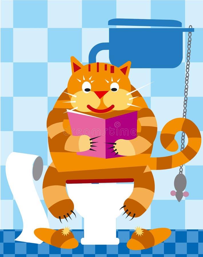 Γάτα στην τουαλέτα διανυσματική απεικόνιση