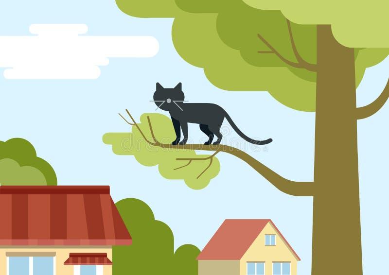 Γάτα στον κλάδο δέντρων στα διανυσματικά κατοικίδια ζώα κινούμενων σχεδίων σχεδίου οδών επίπεδα διανυσματική απεικόνιση