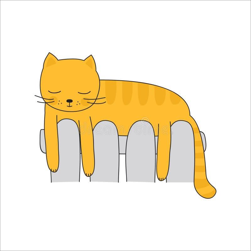 Γάτα στο θερμαντικό σώμα θέρμανσης ελεύθερη απεικόνιση δικαιώματος