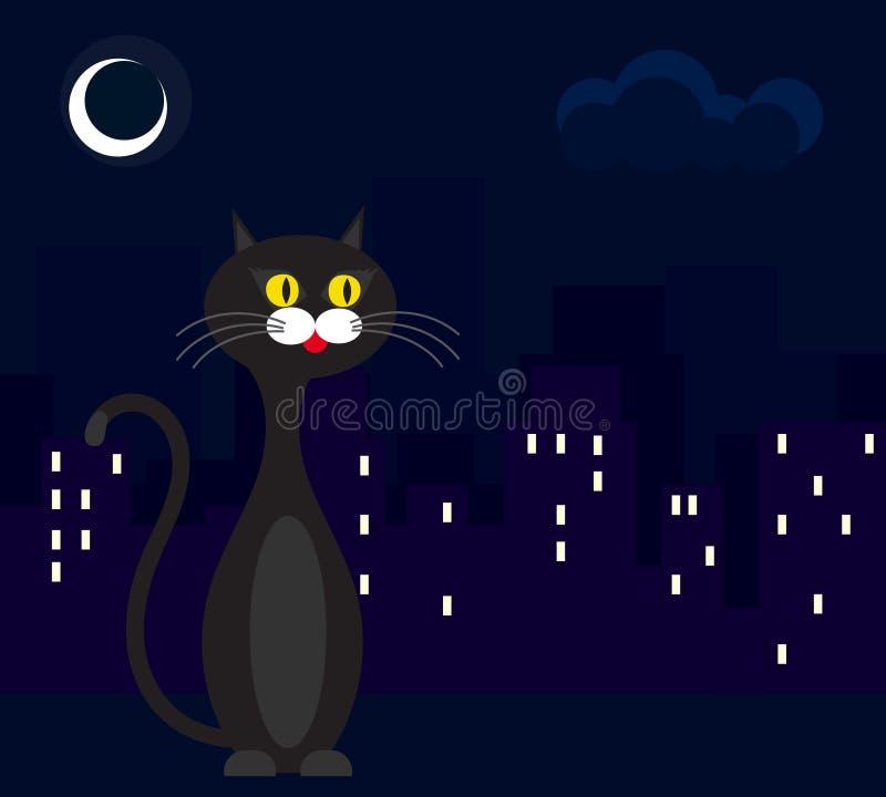 Γάτα στο υπόβαθρο της πόλης τη νύχτα στοκ εικόνες με δικαίωμα ελεύθερης χρήσης