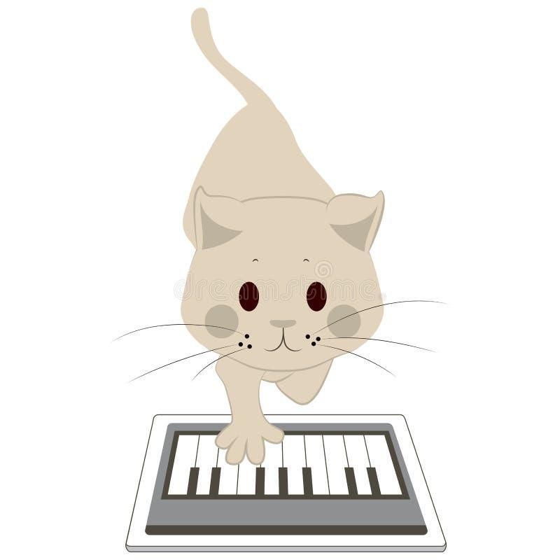 Γάτα σχετικά με την ταμπλέτα οθόνης απεικόνιση αποθεμάτων