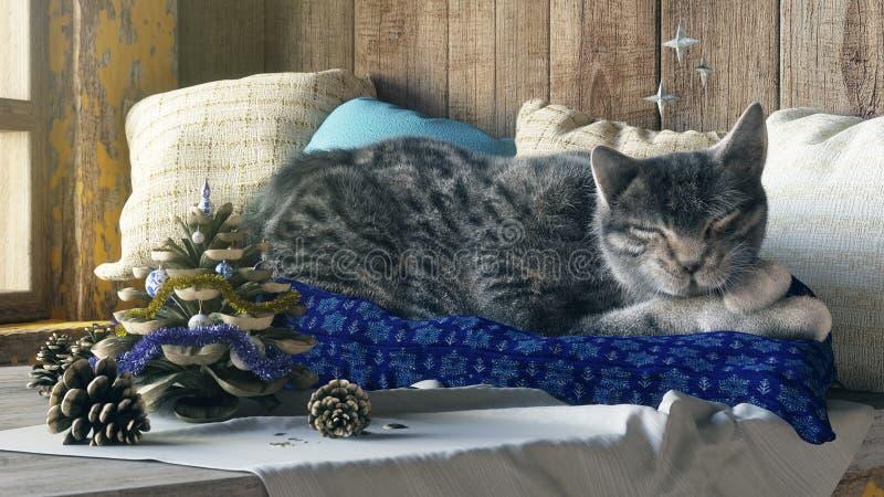 Γάτα ύπνου στη σύνθεση έννοιας υποβάθρου χειμερινών παραθύρων στοκ εικόνα με δικαίωμα ελεύθερης χρήσης