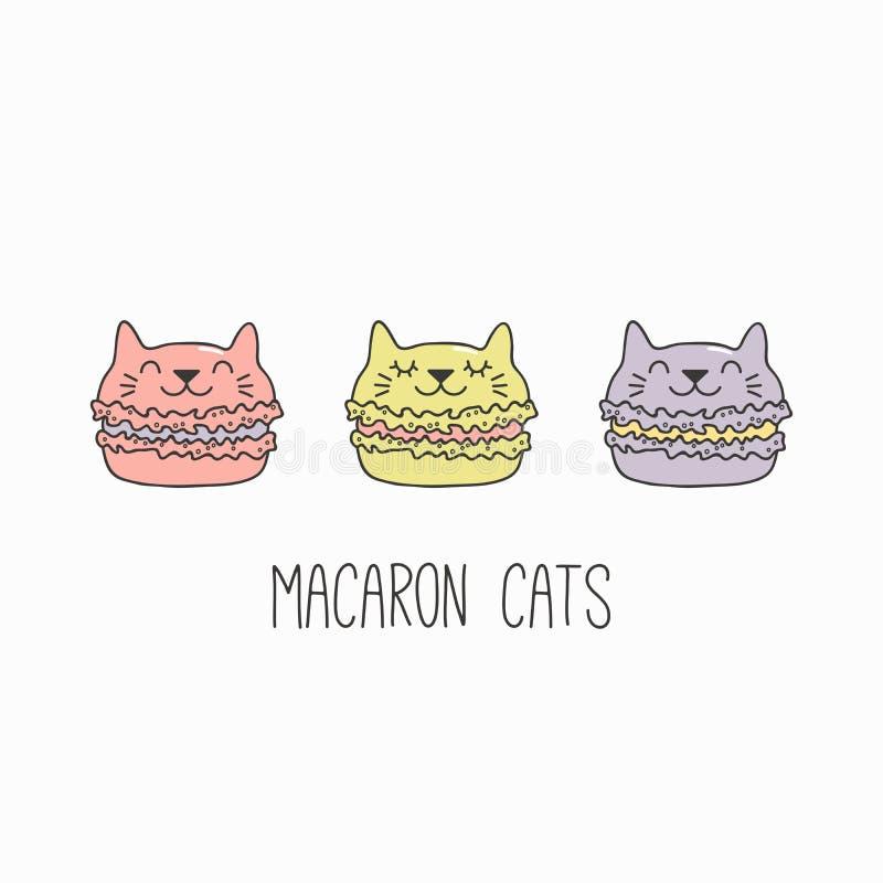 Γάτα Kawaii macarons ελεύθερη απεικόνιση δικαιώματος