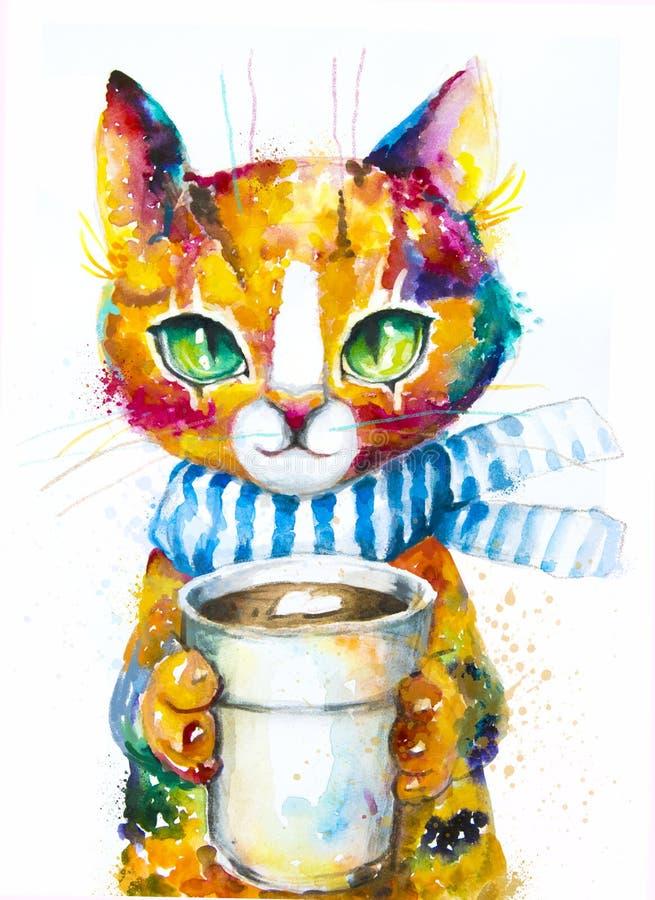 Γάτα Watercolor με το φλυτζάνι καφέ ελεύθερη απεικόνιση δικαιώματος