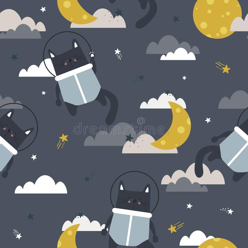 Γάτες - αστροναύτες, φεγγάρι, σύννεφα και αστέρια, ζωηρόχρωμο άνευ ραφής σχέδιο Διακοσμητικό χαριτωμένο υπόβαθρο με τα ζώα και το διανυσματική απεικόνιση