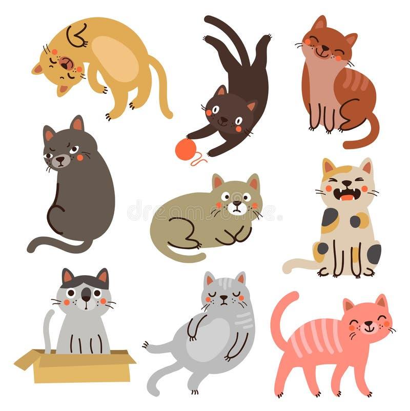 9 γάτες διανυσματική συλλογή χαρακτήρων διανυσματική απεικόνιση