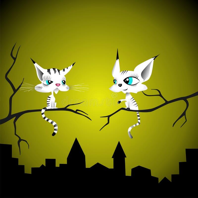 γάτες δύο διανυσματική απεικόνιση