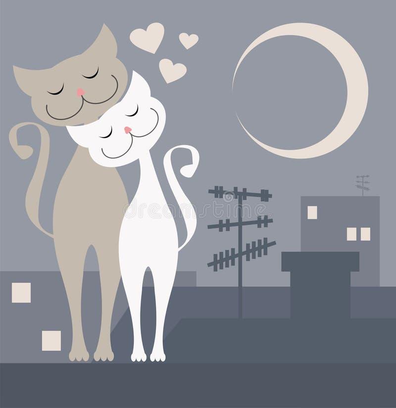 Γάτες ερωτευμένες ελεύθερη απεικόνιση δικαιώματος