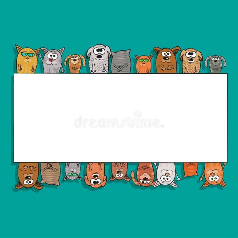 Γάτες και σκυλιά - πρότυπο του υποβάθρου για το κείμενο διανυσματική απεικόνιση
