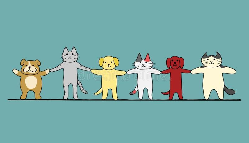 Γάτες και σκυλιά χέρι-χέρι ελεύθερη απεικόνιση δικαιώματος