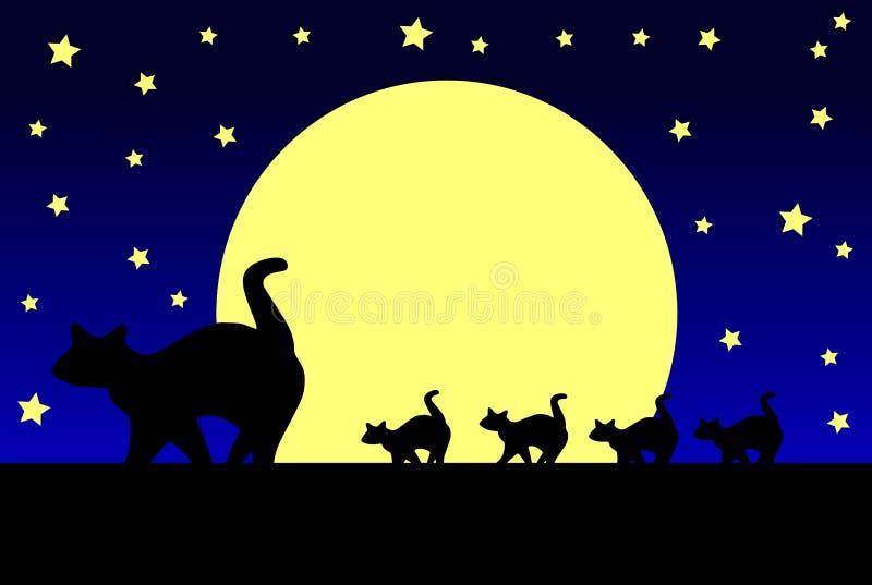Γάτες και φεγγάρι απεικόνιση αποθεμάτων