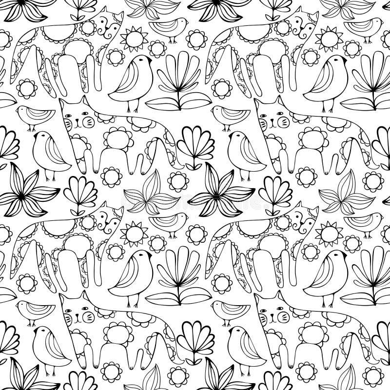 Γάτες, πουλιά και λουλούδια κινούμενων σχεδίων άσπρες ζωηρόχρωμο πρότυπο άνευ ρα& στοκ φωτογραφία