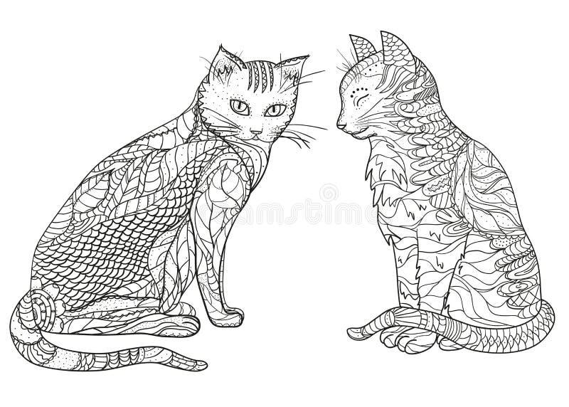 Γάτες Σχέδιο zentangle διανυσματική απεικόνιση