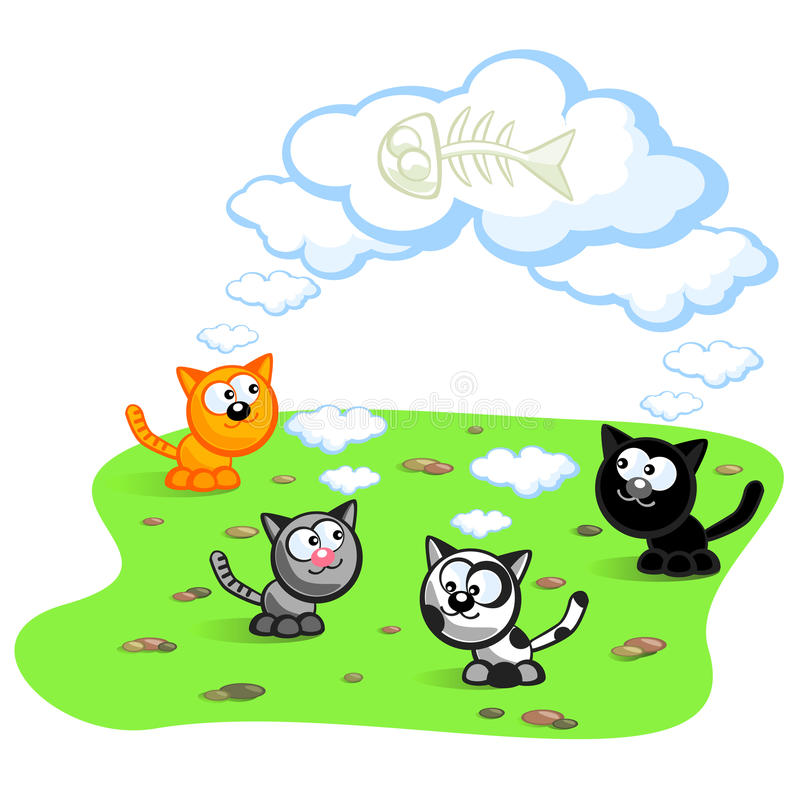 γάτες τέσσερα ελεύθερη απεικόνιση δικαιώματος