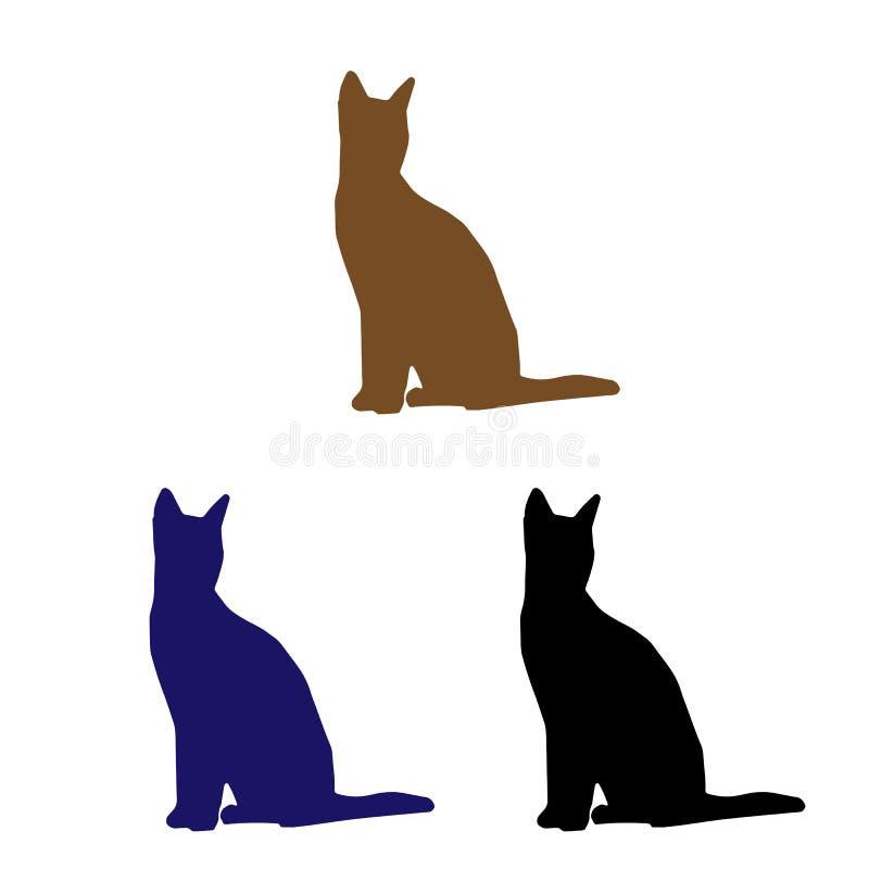 γάτες τρία Καφετιές, μπλε και μαύρες γάτες στοκ εικόνα