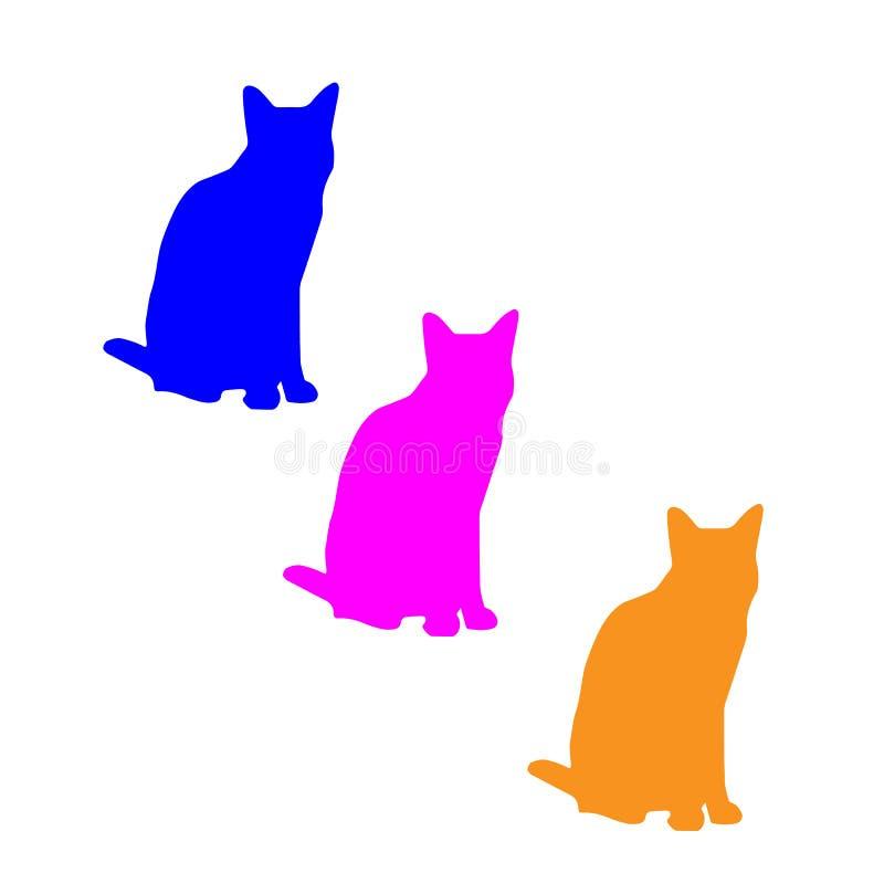 γάτες τρία Μπλε, ρόδινες, κίτρινες γάτες στοκ φωτογραφία με δικαίωμα ελεύθερης χρήσης