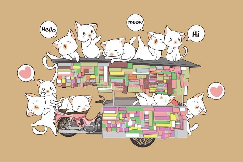 Γάτες Kawaii στο φορητό στάβλο ελεύθερη απεικόνιση δικαιώματος