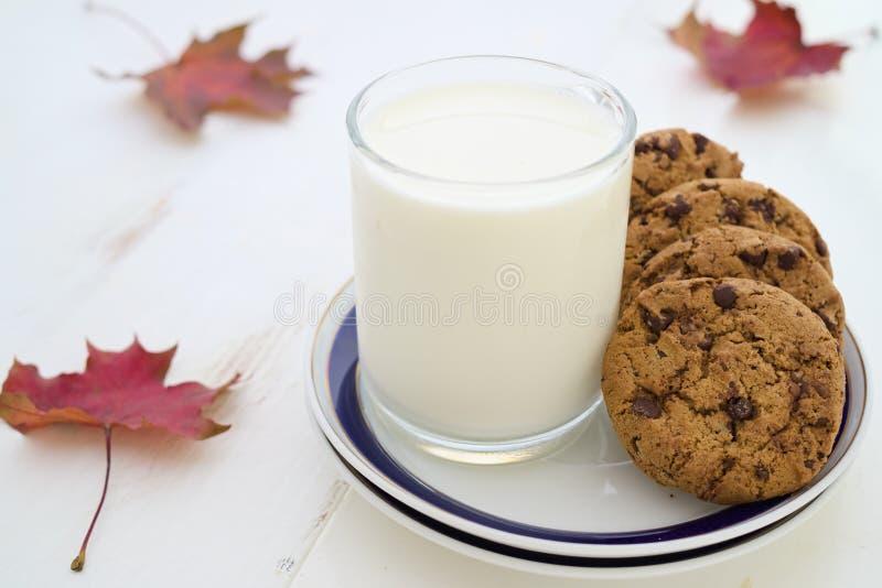Γάλα και μπισκότα με τη διακόσμηση φύλλων πτώσης στοκ φωτογραφία με δικαίωμα ελεύθερης χρήσης