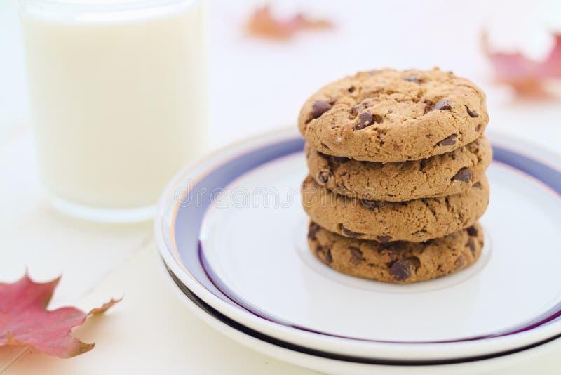 Γάλα και μπισκότα στο σωρό με τα εποχιακά φύλλα πτώσης διακοσμήσεων στοκ εικόνα