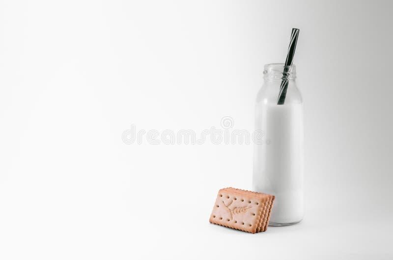 γάλα μπισκότων μπουκαλιών στοκ εικόνα με δικαίωμα ελεύθερης χρήσης